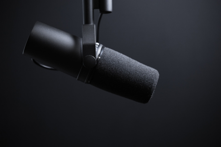 black podcasting microphone