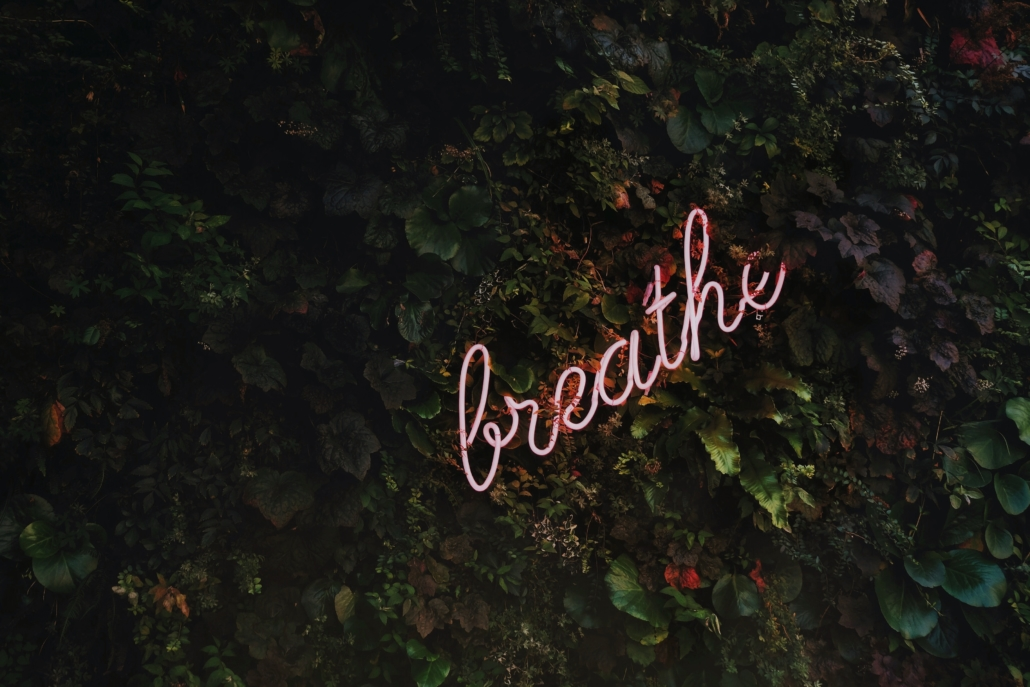 The word Breathe in lights